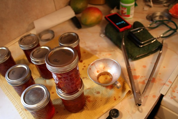 Jam making is a messy, messy operation.
